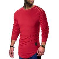 camisas cubiertas hombres al por mayor-Tees drapeado para hombre primavera camiseta de los nuevos hombres del palangre curvo informal camisetas Manga larga Tops Ropa