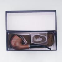 ücretsiz taban çantası toptan satış-Yeni Filtre Ahşap Bakalit Villus Çanta Ile Sigara Boru Kiti Sergi Gösterisi Baz Yenilikçi Tasarım Handpipe Yüksek Kalite Sıcak Kek DHL Ücretsiz