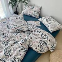 tejido de dibujos animados de punto al por mayor-100% sábanas de algodón tejido de punto cottn impresión reactiva cuatro piezas calidad del bebé ropa de cama de la hoja de cama libre de elegir el tipo flor de la historieta