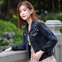Wholesale black beaded jackets plus size resale online - Shipp within hours Spring Plus Size Pearl Beaded Short Denim Coat Women S XL Long Sleeve Casual Jeans Jacket Bomber Coat Y200101