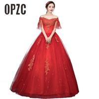 vestido suelto rojo al por mayor-Cuello rojo del barco Vestidos de boda de la vendimia Mangas de manga corta Novia Princesa Vestidos de bola Vestidos de novia baratos De Novia