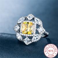 damen große mode ringe großhandel-Big Yellow Full Diamond Octagon Silber Schmuck Ringe für Dame kostspielig Schmuck New Fashion Freimaurer Mode-Stil Jubiläum