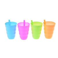 plástico para crianças venda por atacado-Copo De Palha De Plástico Crianças Caneca Colorida com Construído em Palha Copo de Água De Suco De Verão Crianças Doce Cor De Plástico Copos De Palha