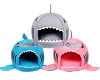 кот акулы дома оптовых-Shark Shape Dog House Sleeping Sofa Lovely Cartoon Pet Bed Warm Soft Dog Cat Nest Puppy Kitten Mat