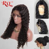 ön dantel peruk derin dalgalar toptan satış-RXY Derin Dalga Brezilyalı Saç 13x6 Dantel Frontal Peruk% 100% Virgin İnsan Saç Dantel Ön Wigs150% Yoğunluk Derin Kıvırcık Dantel Peruk Ücretsiz nakliye