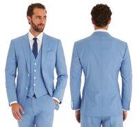 ingrosso vestito blu vestito sottile-2019 Abiti da sposa blu cielo Abiti da sposo aderenti per uomo 3 pezzi Abiti da sposo giacca da lavoro formale (giacca + pantaloni + gilet)