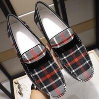 zapatos de cuero para hombre a pie al por mayor-Marca Bur Hombres Mocasines Caminar Casual mocasín-gommino Resbalón de cuero real impermeable en los zapatos de negocios EU38-44