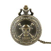 Wholesale big watch necklace for sale - Group buy unisex big men women retro Skeleton skull style bronze color pocket watch quartz necklace pocket watch long chain gift watches