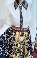 maxi vestido de manga de verano al por mayor-2019 marca mujer vestidos de verano Costura de impresión vestidos maxi Retro solapa Manga larga mujer monos mamelucos color de contraste Falda de las señoras