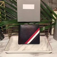 Wholesale credit card embossing resale online - Classic Hot Men s Wallet American Designer Short Wallet Fashion Trends Leather Stripe Embossing Credit Card Location