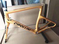 mat karbon çatalı toptan satış-Altın renk NK1K Karbon Yol Çerçeve bisiklet karbon çerçeve 3 K tam karbon bisiklet çerçeve çatal + seatpost + kelepçe + kulaklık ile Ücretsiz gemi