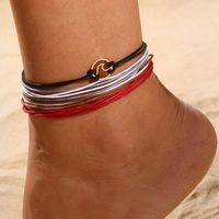 ingrosso bracciali in pelle di caviglia-One Set Cavigliere con ciondoli ondulati per donna Cinturino alla caviglia in pelle vintage con cinturino alla caviglia Bracciale con ciondoli Gioielli da spiaggia