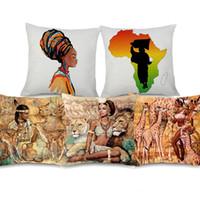 pintando animal selvagem venda por atacado-Africano Retro Vintage Pintura Capas de Almofada Paz África Beleza Animal Selvagem Tigre Girafa Capa de Almofada de Linho de Algodão Travesseiro