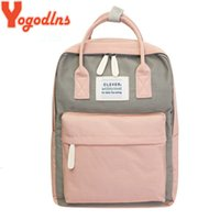 Wholesale campus pack for sale - Group buy Yogodlns Campus Women Backpack School Bag for Teenagers College Canvas Female Bagpack inch Laptop Back Packs Bolsas Mochila