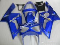 zx6r plásticos azul venda por atacado-Kit de molde de injeção de plástico para Kawasaki Ninja 636 ZX6R 03 04 azul carenagens preto kits ZX6R 2003 2004 MT47