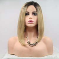 Wholesale short blonde ombre lace front wig resale online - Short Synthetic Lace Front Wigs Ombre Blonde Side Part Pre Plucked Cheap Heat Resistant Synthetic Wig For Black Women