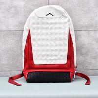mochila hebilla al por mayor-Mochila deportiva de viaje casual para hombres y mujeres de moda casual Una mochila con hebilla de seguridad de cuero rojo blanco de diseño 13 J