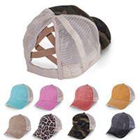 Wholesale ponytail pink resale online - Baseball Caps Ponytail Messy Buns Hats Girls Messy Buns Hats Washed Cotton Unisex Visor Cap Hat Outdoor Snapbacks Caps EEA1709