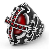 onyx rings china achat en gros de-Européens et américains nouveaux bijoux vintage gothique hipster bague croix homme bague en acier inoxydable bague diamant rouge