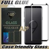 not cam tutkal toptan satış-Samsung Galaxy S10 S10E S9 için Not Tam Yapışkan Tutkal Vaka Dostu temperli cam 3D Kavisli Perakende Paketi ile 10 9 S8 Artı