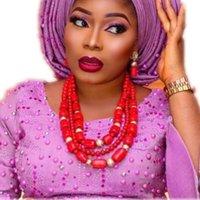 joyas de coral rojo indio al por mayor-Original Coral Beads conjunto de joyas para bodas nigerianas rojo 3 capas Dubai nupcial collar conjunto envío gratis Indian Lady Wedding