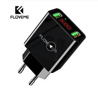 Wholesale floveme charger online – FLOVEME Dual USB Charger For iPhone XR LED Display Phone Wall Charger EU Adapter For Samsung Xiaomi Huawei Phone Accessories
