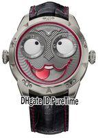 relógios russos venda por atacado-Melhor Edição Konstantin Chaykin Joker Aço Caso Vermelho Inner Gray Joker Dial Tempo Russo NH35A Automático Mens Watch Black Leather Linha Vermelha 01
