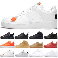 4706f4dcf8403 New nike air force 1 af1 just do it utility Hommes Femmes Chaussures Pas  Cher Low Cut Chaussures Tout Blanc Noir 1s Classic AF Haute Tricot  Skateboard ...