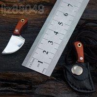 şam mini cep toptan satış-Şam çelik Afrika abanoz Açık Survive EDC El Yapımı Cep MINI mutfak bıçağı Anahtar kolye Taşınabilir Çok araçları