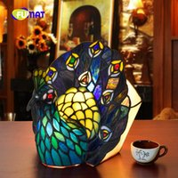 Wholesale peacock table for sale - Group buy FUMAT European creative Tiffany Green Peacock Decoration Tiffany Stained Glass Creative Living Room Bedroom Study Table Lamp