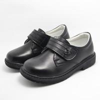 ingrosso scarpe da scuola di cuoio genuino delle ragazze-Pattini piani delle ragazze Pattini di cuoio genuini dei bambini I bambini delle ragazze dei bambini del partito vestono le scarpe per i bambini Scarpe da tennis casuali nere