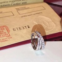 Wholesale pure silver jewelry for men for sale - Group buy S925 pure silver Top quality paris design cross ring with diamonds lovers ring size for Women and Men jewelry gift with logo PS7612