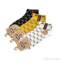 Wholesale big box fish resale online - Sports sock ss cotton men and women socks Japanese explosion models couple socks trend big GG letter boat socks