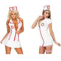 fatos de enfermagem uniformes venda por atacado-Enfermeira cosplay uniformes uniformes sexy desgaste papel jogando saia cor branca mulheres sexy ternos uniformes