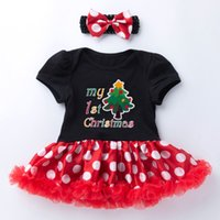 Wholesale baby girls gowns for sale - Group buy Newborn Infant Baby Girls Christmas Tree Romper Dress Tutu Hairband Set And Headband Cotton Letter printed polka dot tutu