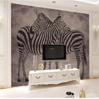 Wholesale zebra print sofas for sale - Group buy custom size d photo wallpaper living room bed room mural zebra vintage abstract d picture sofa TV backdrop wallpaper non woven sticker