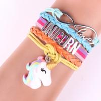 punhos de criança venda por atacado-Unicorn cuff bracelet 2019 Crianças Animais Acessórios Do Bebê Menina de Tricô Presentes de Jóias De Couro Bonito para Crianças