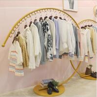decoración de la tienda de ropa al por mayor-Decoración de la tienda de ropa para niños, estante creativo, estante de exhibición, red de aterrizaje, tienda roja en Zhongdao, estante de exhibición, estante, oro