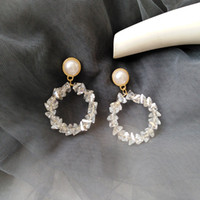 Wholesale crystals stones holes resale online - Japan Natrual Crystal Stone Clips on Earring Without Piercing Korea Fashion Shiny Pearl Hoop Earrings No Pierced Hole