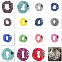 Wholesale infinity scarves for sale - New Women Infinity Scarves With Zipper Pocket Lightweight Arrow Star Elk Print Ring Scarves Storage Bib Christmas Party Favor Gift HH7