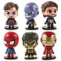 ingrosso le bambole vendicatrici-6 pezzi / set Avengers Action Figures Giocattoli Super hero iron Man Car doll decorazione bambini Modello giocattolo con base C6585