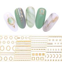 tırnak sanatları etiket şeritleri toptan satış-Altın 3D Nail Sticker Hatları Şerit Geometrik Kalp Kendinden Yapışkanlı Nail Art Transferi Etiketler Manikür Dekorasyon