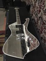 atado de guitarra de abulón al por mayor-Raras grietas de espejo PSM10 Guitarra negra Paul Stanley Firma MiKro guitarra eléctrica Abalone Binding Body White MOP Inlay Mirror Pickguard