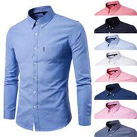 gewebte hemden großhandel-New Mens Shirs Langarm-beiläufige Hemden Baumwolle Oxford gesponnenes Gewebe-Revers-Solid Color Mode-Geschäfts-Hemd Kleidung Groß Größe M-5XL