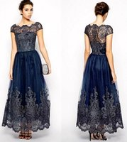 Wholesale lilac bridesmaid dresses online - Vintage Mother of Bride dresses Cap Sleeves Plus Size Navy Blue Lace Appliques Ankle Length Women Formal Bridesmaid Gowns BC0677