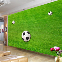 Wholesale drop ship modern decor for sale - Group buy Drop Shipping Custom Wallpaper Murals Green Lawn Soccer Field Wallpaper For Walls D Mural Wall Decor Modern Wall Covering