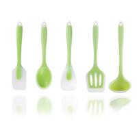 ingrosso set di bastoni da cucina-Utensili da cucina in gel di silice traslucida Cinque set di utensili da cucina 5 pz / lotto Utensili da cucina padella antiaderente Cucchiaino in silicone Scoop Spoon AAA2044