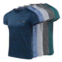 erkekler giyim xxl toptan satış-Spor erkek giyim koşu spor erkek Yaz Rahat O-Boyun T-shirt Spor Spor Hızlı Kuru Nefes Üst Bluz açık