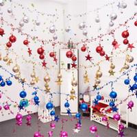 campana de navidad de plástico decoraciones al por mayor-1pc 230cm larga de la Navidad de la bola de Bell de la secuencia con la estrella para el árbol principal partido de la bola de plástico bricolaje Navidad Suministros de Decoración
