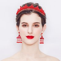 Wholesale court jewelry resale online - Baroque Court Lady Bridal Crown Red Jewelry and Crystal Crown Wedding Accessories Two piece Wedding Hair Accessories